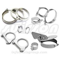China Automotive muffler clamps, saddle clamps, V-band flange assemblies, lap-joint band clamps, butt-joint band clamps on sale