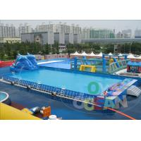 Dolphin Slide Inflatable Water Park , Metal Steel Frame Inflatable Swimming Pool