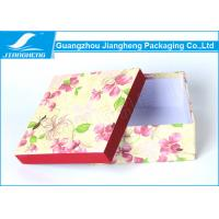Quality Empty Christmas Floral Lidded Cardboard Boxes Colored Beautiful Printed for sale