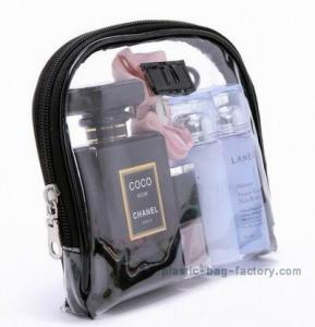 Cool black binding and zipper plastic PVC cosmetic bag for women travelling