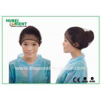 Black Round Nylon Disposable Head Cap / hospital hair nets with Elastic and Snood