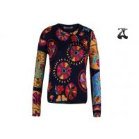 Buy cheap Open Cardigan Womens Crew Neck Sweaters Button Down With Flower Printing from Wholesalers