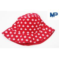 Quality Fashion 100% Polyester Printed Bucket Hats , Floral Bucket Hat Red Color wholesale