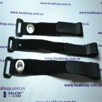 Quality 25mm Velcro Cord Straps , Strong Black Velcro Straps With Corns Button OEM Design wholesale