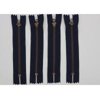 Semi Auto Lock Metal Open Ended Zips , Antique Copper Teeth Double Ended Zips For Coats