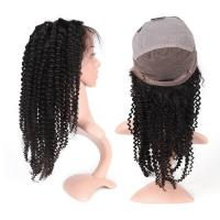 Buy cheap Full Lace Curly Human Hair Wigs Medium Size For Black Women , 130% Density from Wholesalers