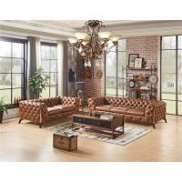 Buy cheap Home Furniture  Tan Brown Top Genuine Soft Leather Sofa Set With Multi Deep Buttons from wholesalers