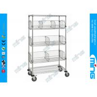 Buy cheap Powder Coated Mobile Wire Basket Shelving / Adjustable Wire Shelves for Warehouse from Wholesalers