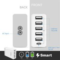 Quality PISEN NEW 2017 Mobile Phone Portable 40W 5V 2.4A 3A US Type C 5 Port USB Charger for sale