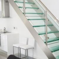 Buy cheap Modern Stair Steel  Stringers  Glass Railing glass Step Staircase from wholesalers