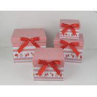 Buy cheap Square Cardboard Gift Storage Boxes CMYK Printing With Red Ribbon from Wholesalers