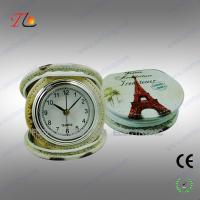 Buy cheap New portable and folding 3D flower printing PU Paris travel alarm clock for promotion from Wholesalers