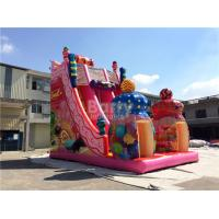 China Pink Candy 0.55mm PVC tarpaulin Outdoor Giant Inflatable Slide / Blow Up Amusement Park on sale
