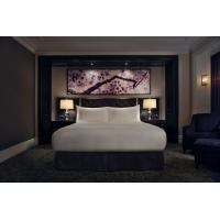 Five Star Leather Hotel Bedroom Furniture Sets King Size / Double Size With Marble Top Night Table
