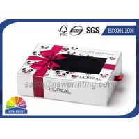Buy cheap Cream Packing Rectangle Rigid Paper Box Cardboard Drawer Box With PVC Window from Wholesalers
