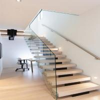 Buy cheap Modern Mono Steel beam Glass Railing Wood Step flight Staircase from wholesalers