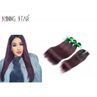 China Human Hair Bundles With Lace Closure Ombre Burgundy 1B 99J Bundles With Closure on sale