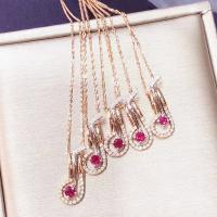 Genuine Ruby Pendant Necklace , 18k Solid Gold Single Stone Ruby Necklace