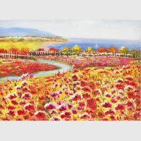Buy cheap Palette Knife Poppy Oil Painting Colorful Red Floral Canvas Painting for Home Decor from Wholesalers
