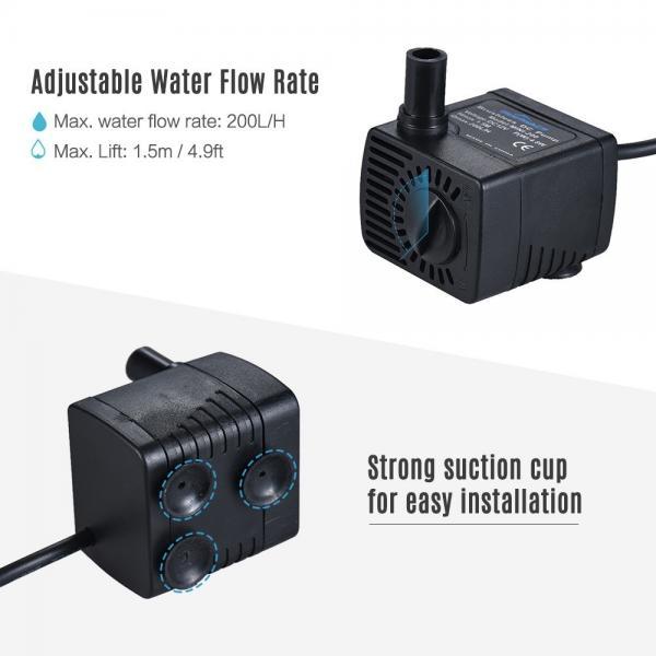 Mini DC 12V Aquarium Submersible Pump for Small Fountain, Green Wall
