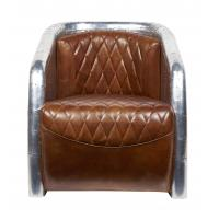 Buy cheap Top Grain Ox High Back Winged Leather Armchairs ,Leather Accent Chairs With Arms Aluminium Back from Wholesalers