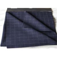 Quality Window Pane Suit Medium Tartan Wool Fabric British Style Navy With White Line wholesale
