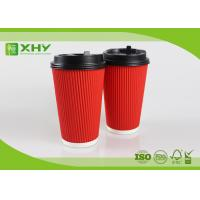 Buy cheap 16oz Corrugated Ripple Paper Cups With Lid / Small Thin Ripple from Wholesalers