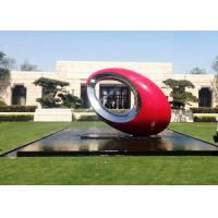 Buy cheap Oval Large Outdoor Sphere Modern Garden Art Sculptures Red Painted Metal Sculpture from wholesalers