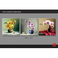 Buy cheap Yellow Bamboo Fiber Fake Tile Wall Panels Embossed Triptych Art Painting Moth Orchid from Wholesalers