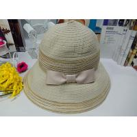 Buy cheap Pink / Beign 9cm Brim Spring Cloth Womens Sun Hats With Bowknot Band For Party from Wholesalers