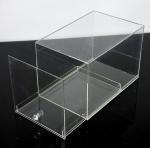 Fashion Plexiglass Display Shoe Drawer Case / Plastic Acrylic Shoe Box Storage Organizer