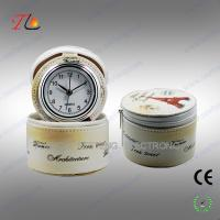 Buy cheap Charming Flower printing leather PU travel clock with leather jewel box from Wholesalers