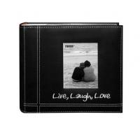 Buy cheap Pioneer Photo Albums Embroidered Live, Laugh, Love Black Sewn Leatherette Frame Cover Albu from Wholesalers