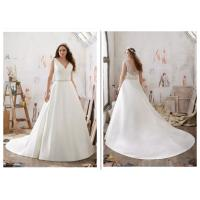 Long Train Satin A Line Style Wedding Dresses With V - Neck Customized Size
