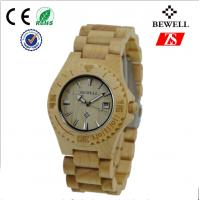 Custom Round Wooden Wrist Watch , Japan Movt Men Wood Watch