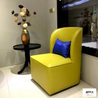 Buy cheap Yellow Linen Fabric Wooden Club Chair Fantastic Style Comfortable from Wholesalers