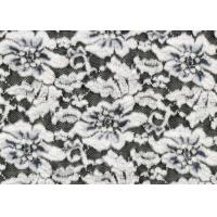 Quality White Flower Brushed Lace Stretchable , Rayon Nylon Spandex Fabric CY-LQ0003 wholesale