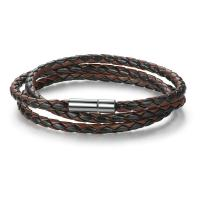 Handmade Braided Leather Wrap Bracelet With Stainless Steel Magnetic Clasp