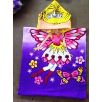 50*100cm 100% polyester hooded baby bath towel,poncho for girls  butterfly