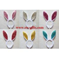 Buy cheap Children adult pink gold Easter Party decoration/rabbit ear/Sequin Bunny ear headband/flashing headband from wholesalers