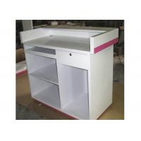 Modern Style Cash Wrap Counter With Drawer , White Retail Store Checkout Counters