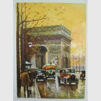 China Contemporary Paris Street Scene Oil Painting Arc De Triomphe On Canvas on sale