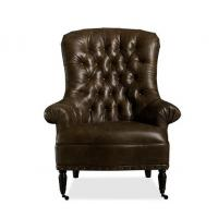 Buy cheap Top Leather Tufted Back Occasional brown living room chair for sitting , make up from Wholesalers