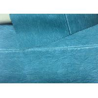 China 330 Gsm Blue PU Washed Leather 100% Rayon Backing For Garment 0.60 Mm Thickness on sale