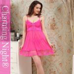 Nylon / Polyester pink babydoll chemise Lingerie , beautiful women sleepwear