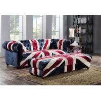 Buy cheap Velvet Union Jack Three Seater Leather Sofa Hand Work Craft Fabric Buttons from wholesalers