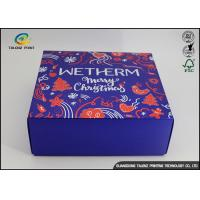 Buy cheap Luxury Christmas Printed Blue Cardboard Gift Boxes / Packaging Paper Box from Wholesalers