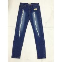 Buy cheap Knee Patch Colored Womens Slim Straight Leg Jeans Dark Wash Low Waist from Wholesalers