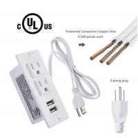 Desktop Conference Table Electrical Outlets White Color Recessed Power Strip