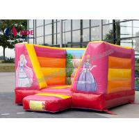 China Pink Party Bouncy Castle Rental ,  Inflatable Bouncers For Kids Combo Theme on sale